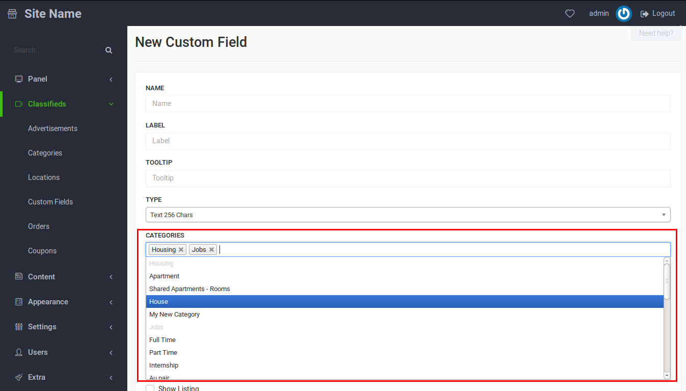 How to integrate your Custom Fields into selected categories